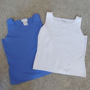 Square neck sweater shells 1 white 1 blue small